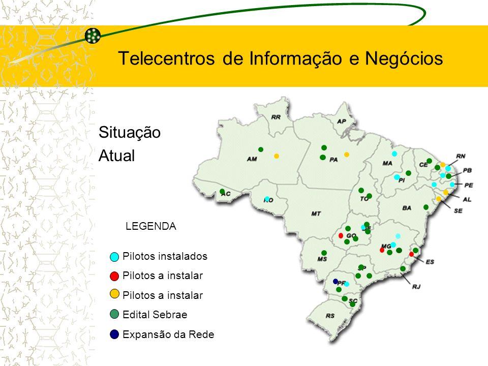 Situação Atual LEGENDA Pilotos instalados Pilotos a instalar Edital Sebrae Expansão da Rede Telecentros de Informação e Negócios