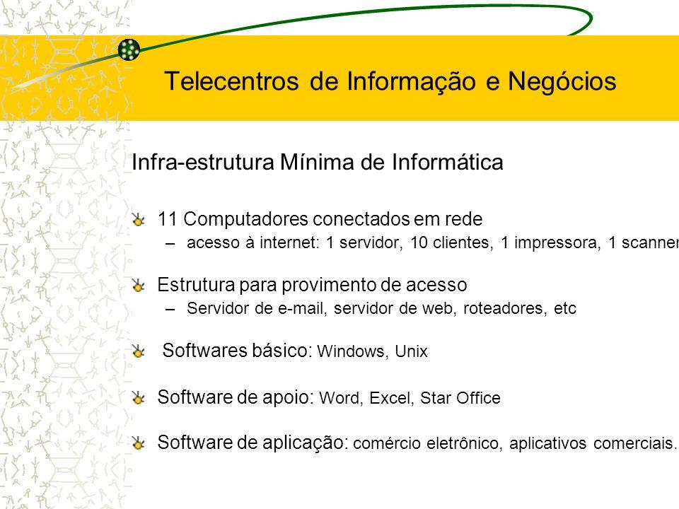 Infra-estrutura Mínima de Informática 11 Computadores conectados em rede –acesso à internet: 1 servidor, 10 clientes, 1 impressora, 1 scanner Estrutur