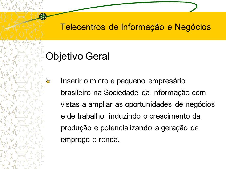 Objetivos Específicos Melhoria do desempenho de microempresas Geração de emprego e renda Integração de microempresas Expansão sustentável do uso de TIC Inclusão social Telecentros de Informação e Negócios