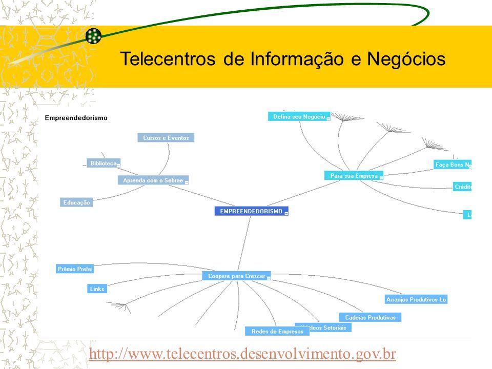 http://www.telecentros.desenvolvimento.gov.br Telecentros de Informação e Negócios
