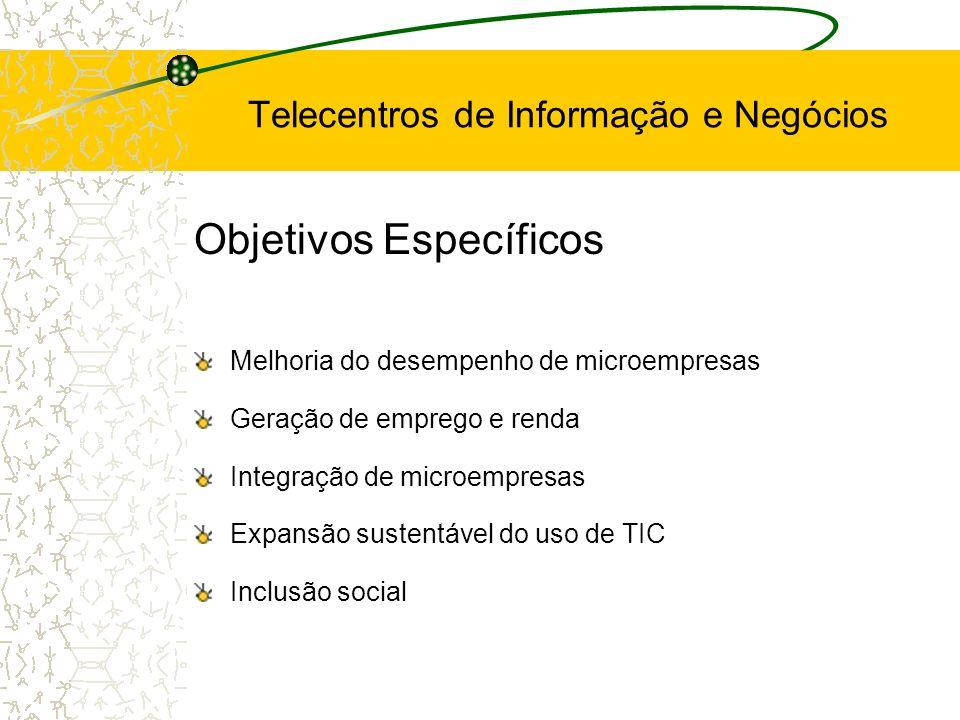Objetivos Específicos Aumento da competitividade empresarial Alfabetização digital do pequeno empresário Incentivo ao surgimento de novos empreendimentos Estímulo a novas parcerias Melhoria do nível de qualidade e competitividade Melhoria e apoio à organização dos arranjos produtivos Incentivo ao comércio exterior Telecentros de Informação e Negócios