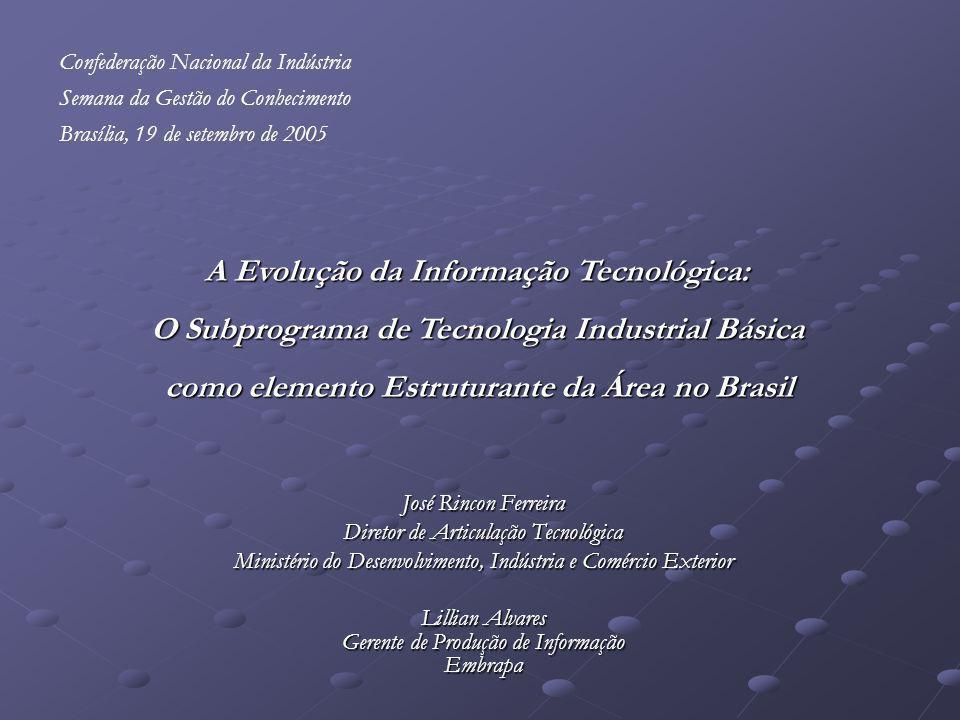José Rincon Ferreira Diretor de Articulação Tecnológica Ministério do Desenvolvimento, Indústria e Comércio Exterior Lillian Alvares Gerente de Produç