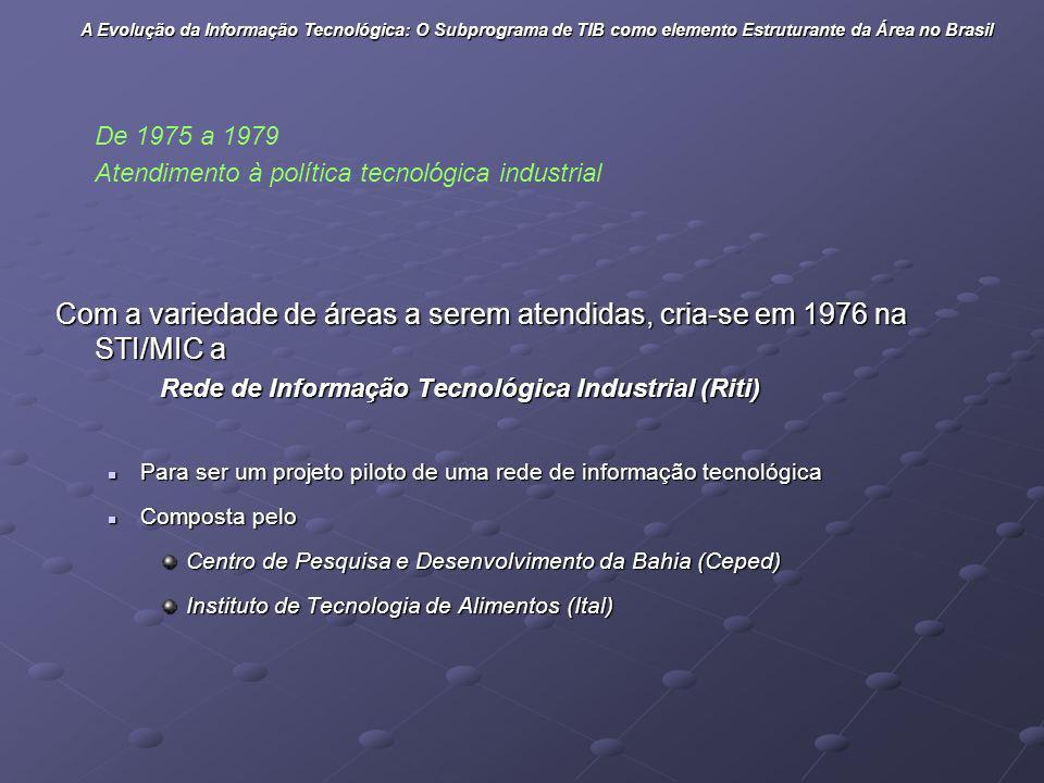 Com a variedade de áreas a serem atendidas, cria-se em 1976 na STI/MIC a Rede de Informação Tecnológica Industrial (Riti) Para ser um projeto piloto d
