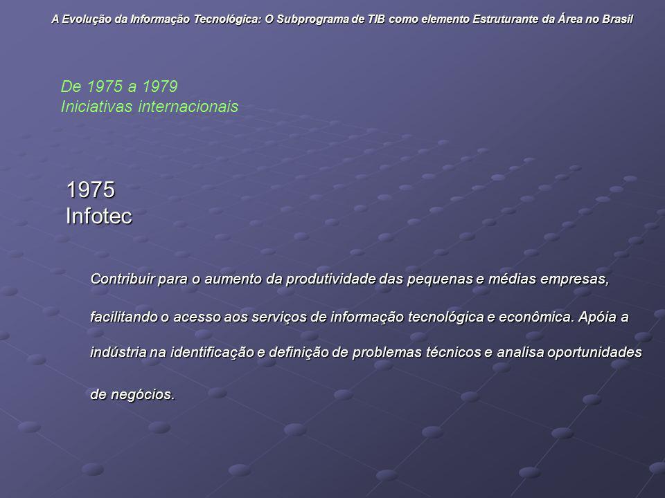 1975Infotec Contribuir para o aumento da produtividade das pequenas e médias empresas, facilitando o acesso aos serviços de informação tecnológica e e