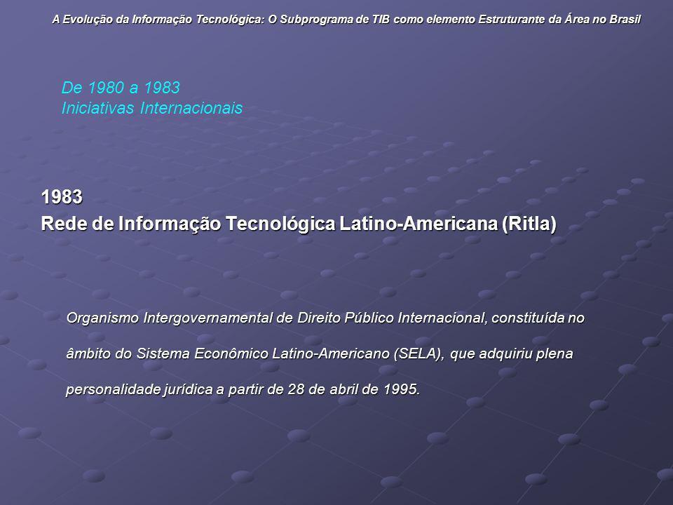 1983 Rede de Informação Tecnológica Latino-Americana (Ritla) Organismo Intergovernamental de Direito Público Internacional, constituída no âmbito do S