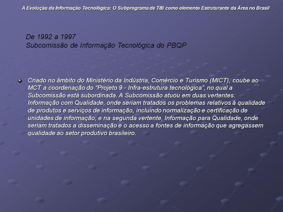 Criado no âmbito do Ministério da Indústria, Comércio e Turismo (MICT), coube ao MCT a coordenação do Projeto 9 - Infra-estrutura tecnológica, no qual