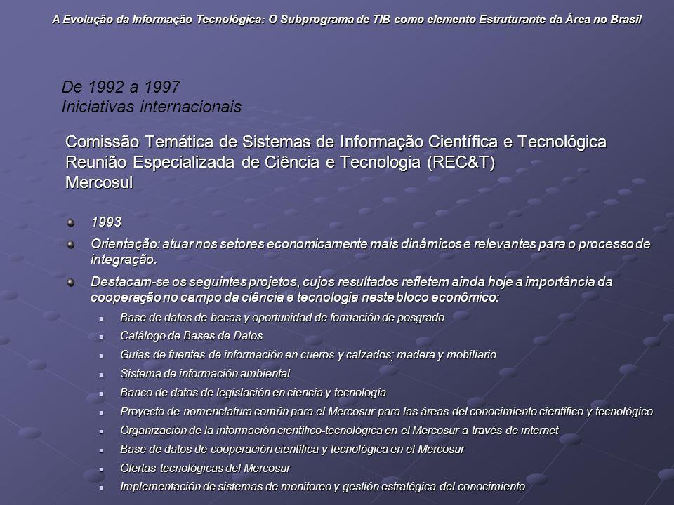 Comissão Temática de Sistemas de Informação Científica e Tecnológica Reunião Especializada de Ciência e Tecnologia (REC&T) Mercosul1993 Orientação: at