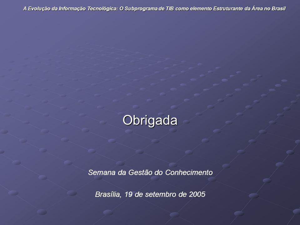 Obrigada Semana da Gestão do Conhecimento Brasília, 19 de setembro de 2005 A Evolução da Informação Tecnológica: O Subprograma de TIB como elemento Es