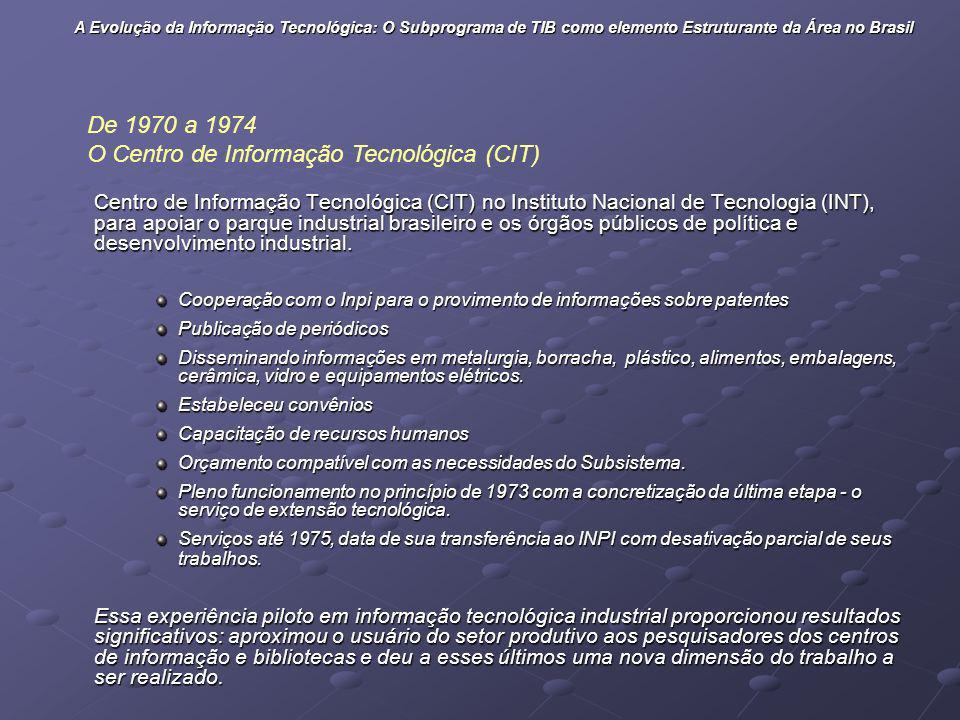 Centro de Informação Tecnológica (CIT) no Instituto Nacional de Tecnologia (INT), para apoiar o parque industrial brasileiro e os órgãos públicos de p
