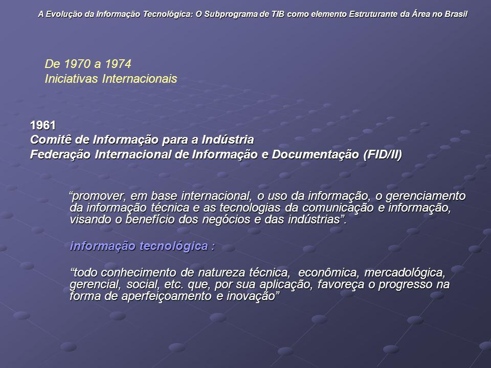 1961 Comitê de Informação para a Indústria Federação Internacional de Informação e Documentação (FID/II) promover, em base internacional, o uso da inf