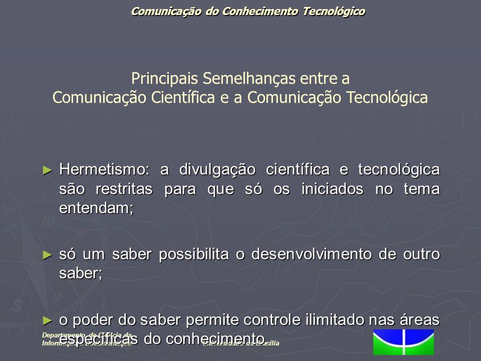 Comunicação do Conhecimento Tecnológico Departamento de Ciência da Informação e DocumentaçãoUniversidade de Brasília Hermetismo: a divulgação científi