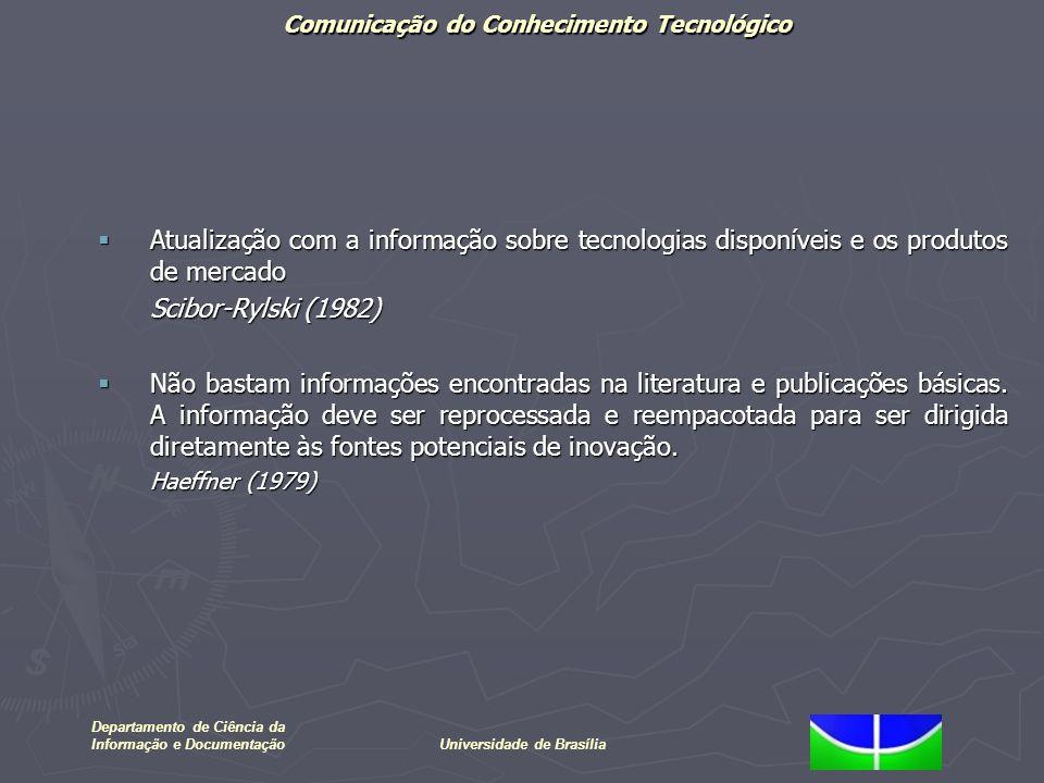 Comunicação do Conhecimento Tecnológico Departamento de Ciência da Informação e DocumentaçãoUniversidade de Brasília Atualização com a informação sobr
