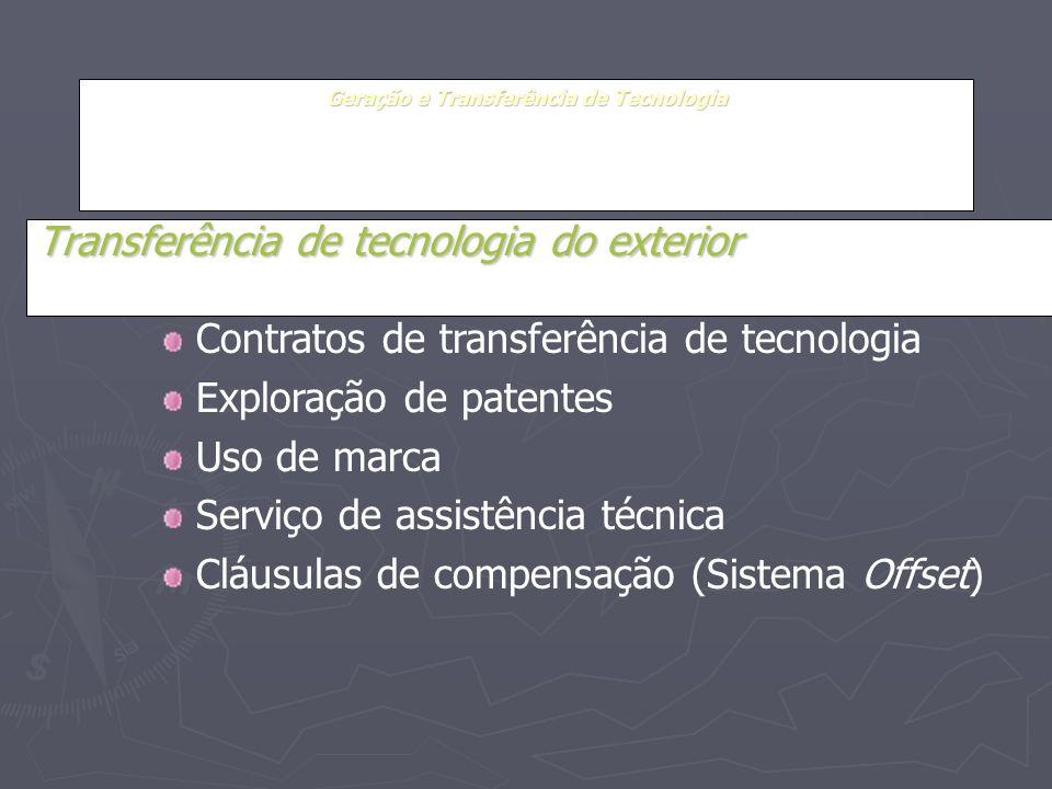 Geração e Transferência de Tecnologia Transferência de tecnologia do exterior Contratos de transferência de tecnologia Exploração de patentes Uso de m