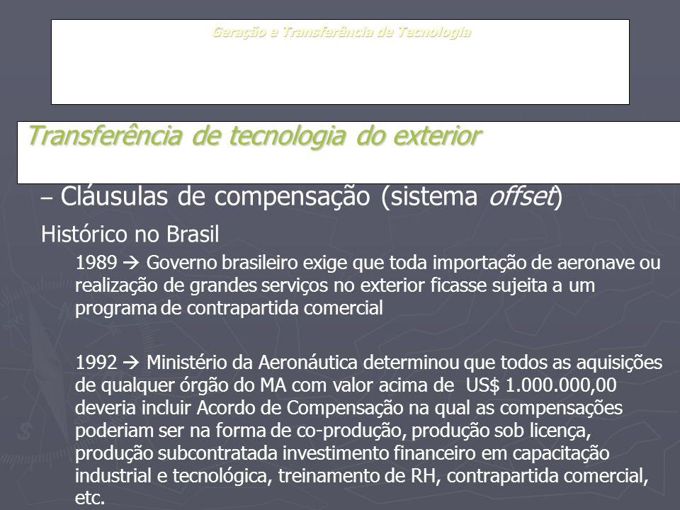 Geração e Transferência de Tecnologia Transferência de tecnologia do exterior – Cláusulas de compensação (sistema offset) Histórico no Brasil 1989 Gov