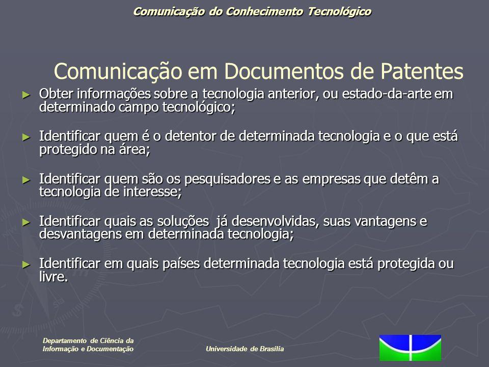 Departamento de Ciência da Informação e DocumentaçãoUniversidade de Brasília Obter informações sobre a tecnologia anterior, ou estado-da-arte em deter