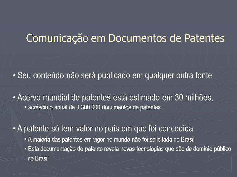 Seu conteúdo não será publicado em qualquer outra fonte Acervo mundial de patentes está estimado em 30 milhões, acréscimo anual de 1.300.000 documento
