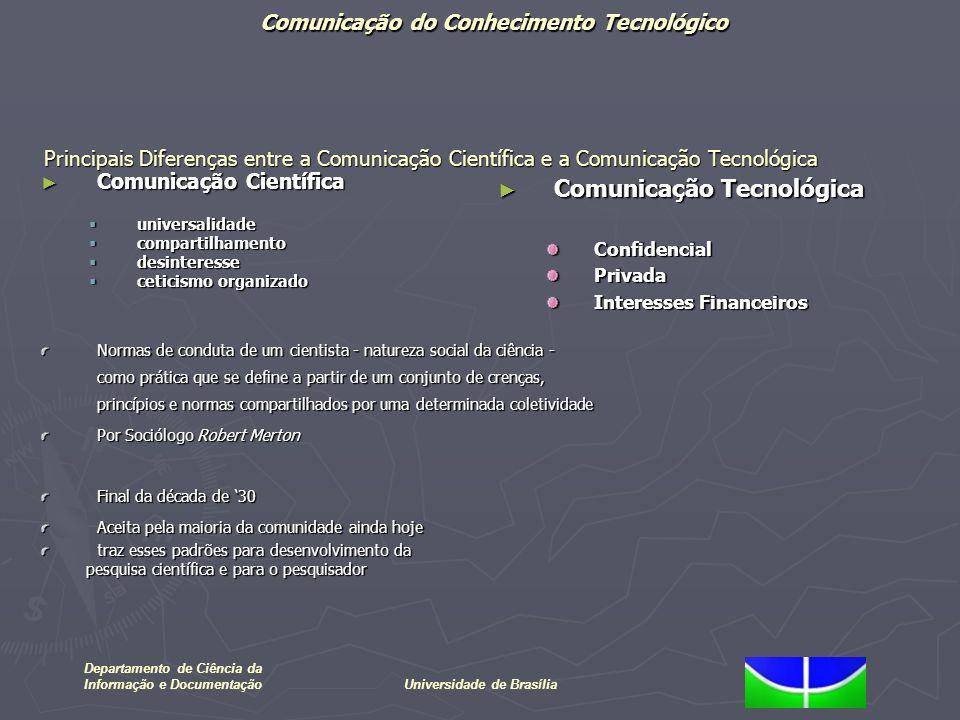 Comunicação do Conhecimento Tecnológico Departamento de Ciência da Informação e DocumentaçãoUniversidade de Brasília Transferência de conhecimento tecnológico