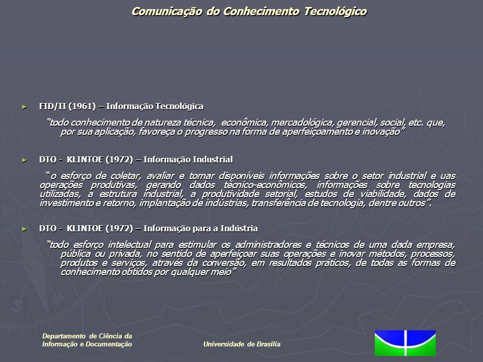 Comunicação do Conhecimento Tecnológico Departamento de Ciência da Informação e DocumentaçãoUniversidade de Brasília FID/II (1961) – Informação Tecnol