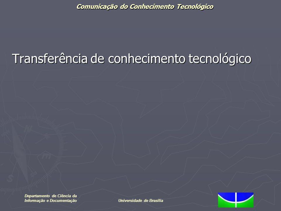 Comunicação do Conhecimento Tecnológico Departamento de Ciência da Informação e DocumentaçãoUniversidade de Brasília Transferência de conhecimento tec