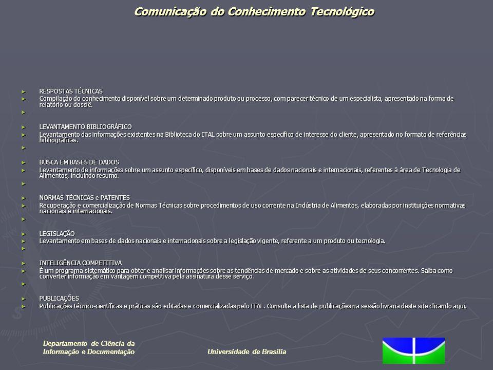 Comunicação do Conhecimento Tecnológico Departamento de Ciência da Informação e DocumentaçãoUniversidade de Brasília A escolha por conhecer a evolução da área de Inteligência Competitiva através da indexação de periódicos deveu-se a justificativa de Rosseau (1998) que afirma: A escolha por conhecer a evolução da área de Inteligência Competitiva através da indexação de periódicos deveu-se a justificativa de Rosseau (1998) que afirma: Os resultados de todas as pesquisa científicas estão anunciadas em periódicos científicos; Os resultados de todas as pesquisa científicas estão anunciadas em periódicos científicos; O progresso é alcançado a partir da evolução do conhecimento divulgado; O progresso é alcançado a partir da evolução do conhecimento divulgado; Os pesquisadores constroem seu trabalho sobre as obras dos colegas e precursores da área; Os pesquisadores constroem seu trabalho sobre as obras dos colegas e precursores da área; O trabalho publicado é submetido a avaliação dos pares; O trabalho publicado é submetido a avaliação dos pares; As revistas científicas desempenham papel essencial na comunicação entre pesquisadores correlacionados; As revistas científicas desempenham papel essencial na comunicação entre pesquisadores correlacionados; O número de publicações de um grupo de pesquisa pode ser considerada O número de publicações de um grupo de pesquisa pode ser considerada