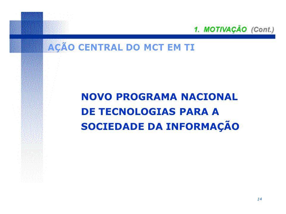 14 1. MOTIVAÇÃO (Cont.) NOVO PROGRAMA NACIONAL DE TECNOLOGIAS PARA A SOCIEDADE DA INFORMAÇÃO AÇÃO CENTRAL DO MCT EM TI