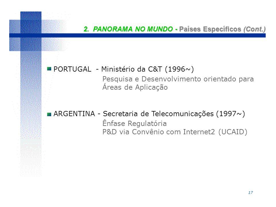 17 2. PANORAMA NO MUNDO - Países Específicos (Cont.) PORTUGAL - Ministério da C&T (1996~) Pesquisa e Desenvolvimento orientado para Áreas de Aplicação