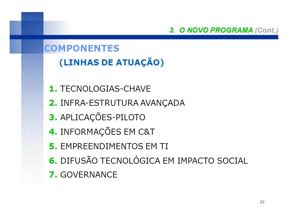 21 3. O NOVO PROGRAMA (Cont.) COMPONENTES (LINHAS DE ATUAÇÃO) 1. TECNOLOGIAS-CHAVE 2. INFRA-ESTRUTURA AVANÇADA 3. APLICAÇÕES-PILOTO 4. INFORMAÇÕES EM