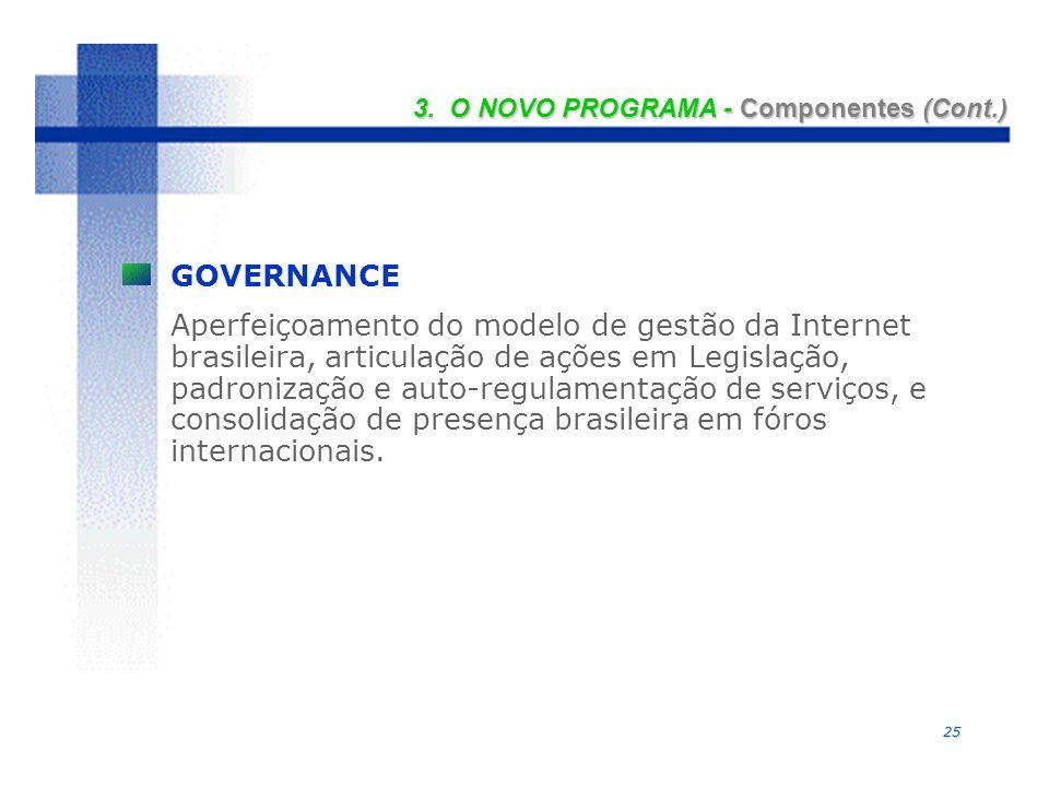 25 GOVERNANCE Aperfeiçoamento do modelo de gestão da Internet brasileira, articulação de ações em Legislação, padronização e auto-regulamentação de serviços, e consolidação de presença brasileira em fóros internacionais.