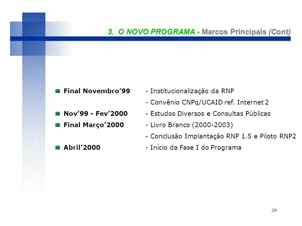 28 3. O NOVO PROGRAMA - Marcos Principais (Cont) Final Novembro99- Institucionalização da RNP - Convênio CNPq/UCAID ref. Internet 2 Nov99 - Fev2000- E