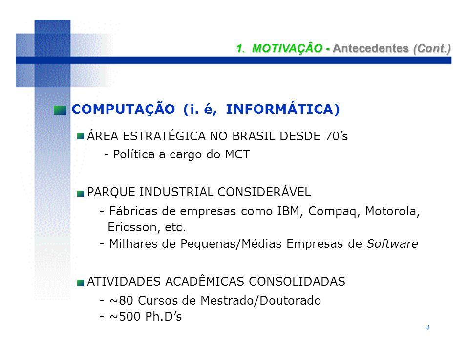 5 INICIATIVAS NACIONAIS DO MCT - Infra-estrutura de Redes - RNP (1988) - Pesquisa Multi-Institucional - PROTEM (1990) - Software para Exportação - SOFTEX-2000 (1993) - Processamento de Alto Desempenho - SINAPAD (1991) 1.