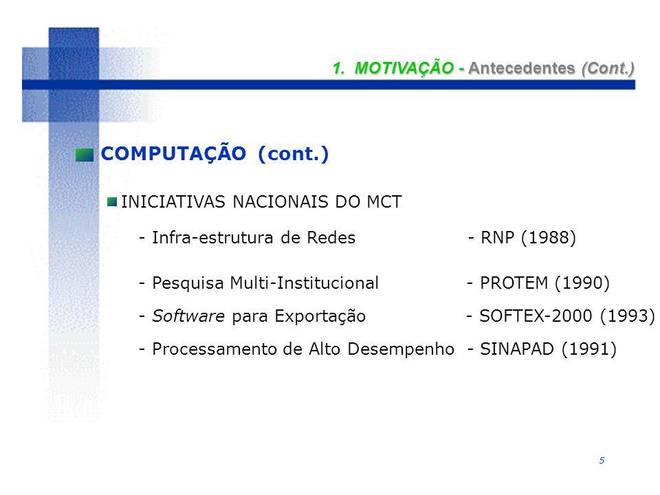 5 INICIATIVAS NACIONAIS DO MCT - Infra-estrutura de Redes - RNP (1988) - Pesquisa Multi-Institucional - PROTEM (1990) - Software para Exportação - SOF