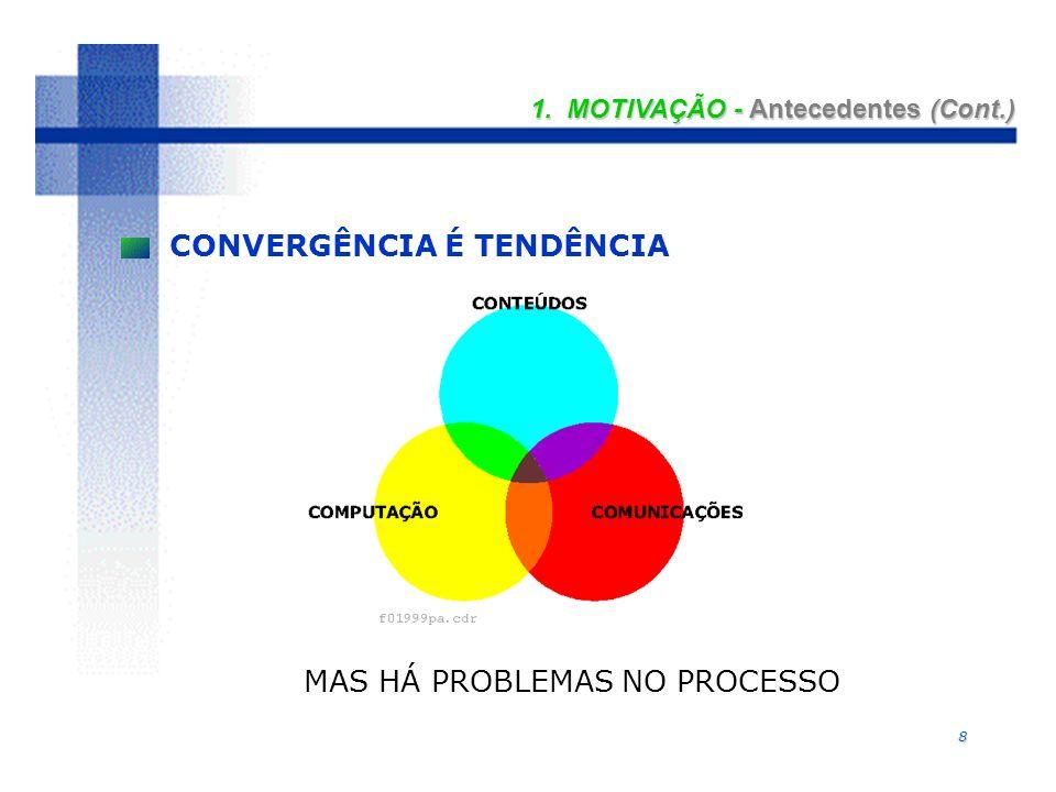 8 1. MOTIVAÇÃO - Antecedentes (Cont.) CONVERGÊNCIA É TENDÊNCIA MAS HÁ PROBLEMAS NO PROCESSO