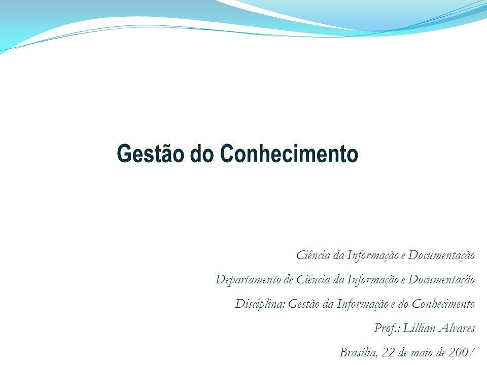 Ciência da Informação e Documentação Departamento de Ciência da Informação e Documentação Disciplina: Gestão da Informação e do Conhecimento Prof.: Li