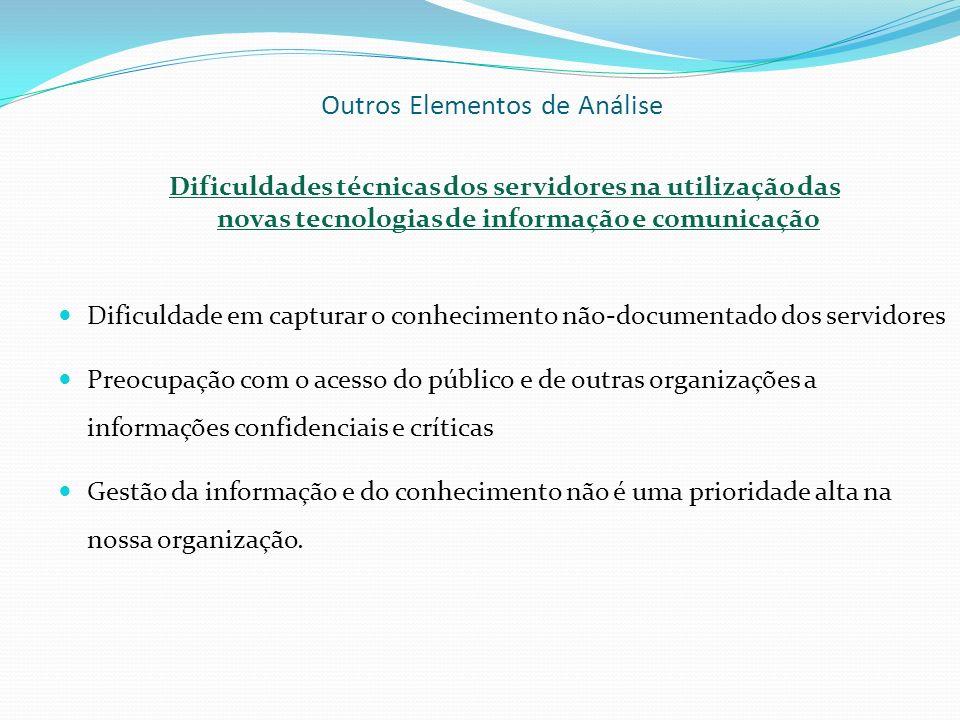 Outros Elementos de Análise Dificuldades técnicas dos servidores na utilização das novas tecnologias de informação e comunicação Dificuldade em captur