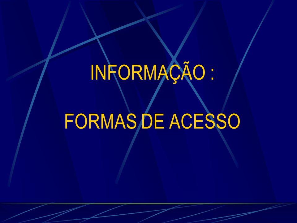 INFORMAÇÃO : FORMAS DE ACESSO