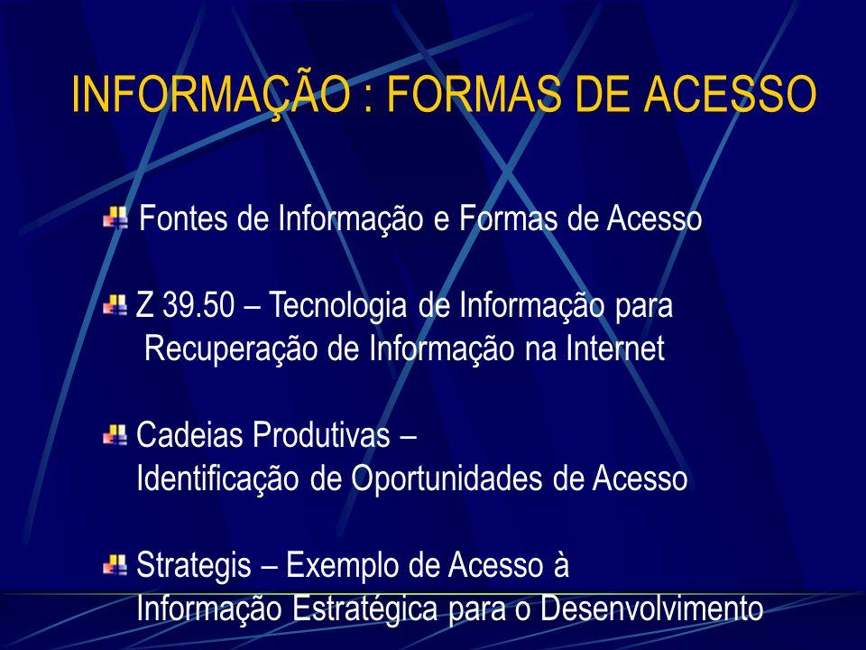 Fontes de Informação e Formas de Acesso Z 39.50 – Tecnologia de Informação para Recuperação de Informação na Internet Cadeias Produtivas – Identificaç