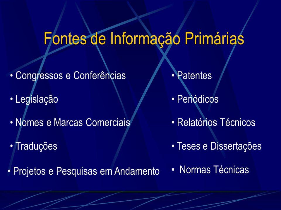 Fontes de Informação Primárias Congressos e Conferências Legislação Nomes e Marcas Comerciais Traduções Patentes Periódicos Relatórios Técnicos Teses