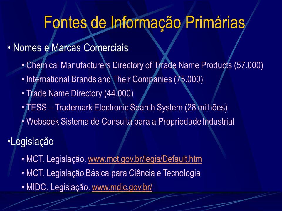 Fontes de Informação Primárias Nomes e Marcas Comerciais Chemical Manufacturers Directory of Trrade Name Products (57.000) International Brands and Th