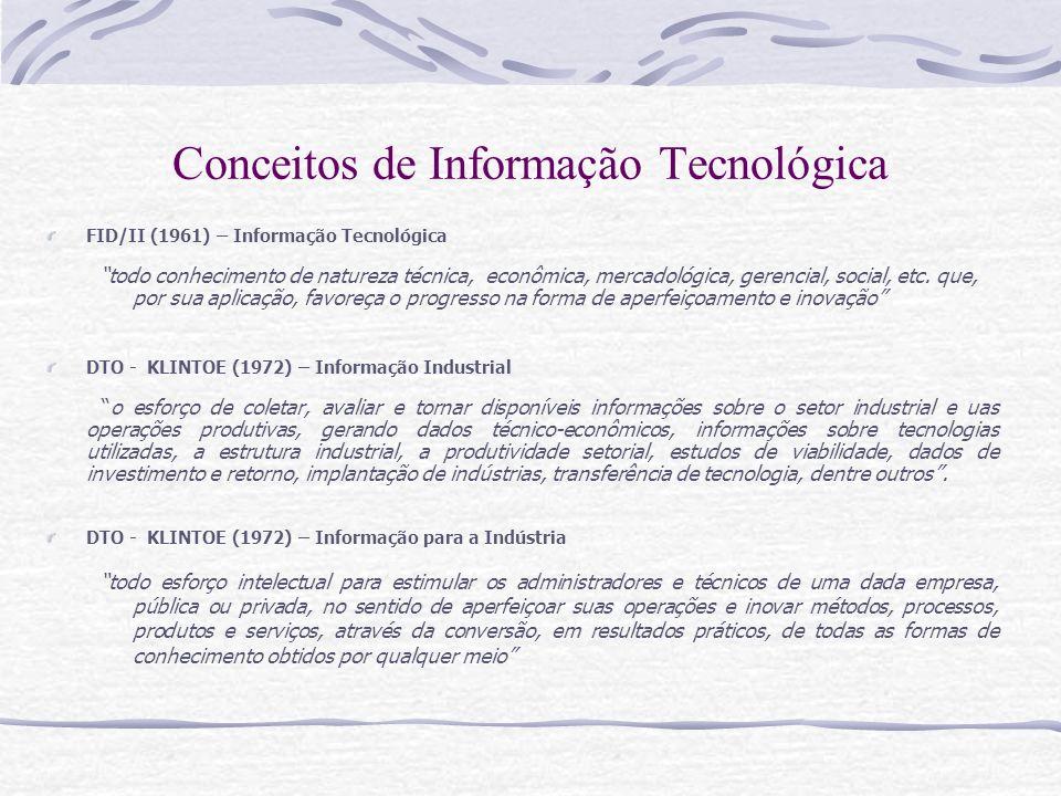 Conceitos de Informação Tecnológica FID/II (1961) – Informação Tecnológica todo conhecimento de natureza técnica, econômica, mercadológica, gerencial,