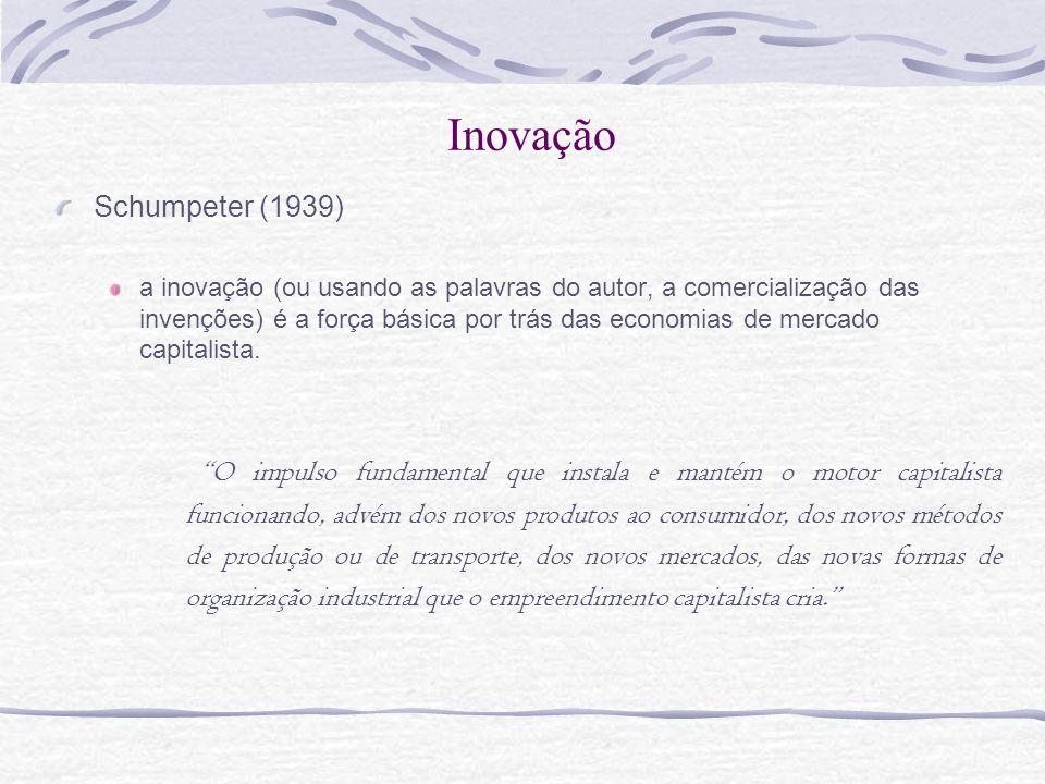 Inovação Schumpeter (1939) a inovação (ou usando as palavras do autor, a comercialização das invenções) é a força básica por trás das economias de mer