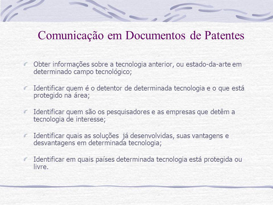 Obter informações sobre a tecnologia anterior, ou estado-da-arte em determinado campo tecnológico; Identificar quem é o detentor de determinada tecnol
