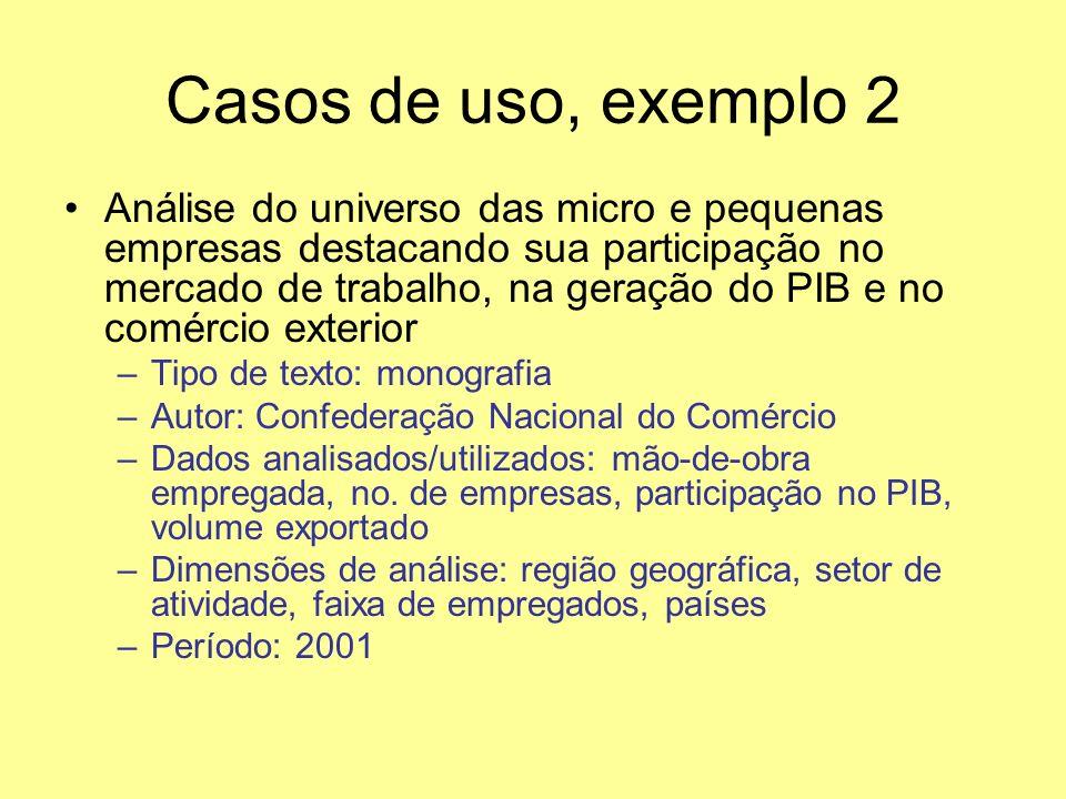 Casos de uso, exemplo 2 Análise do universo das micro e pequenas empresas destacando sua participação no mercado de trabalho, na geração do PIB e no c