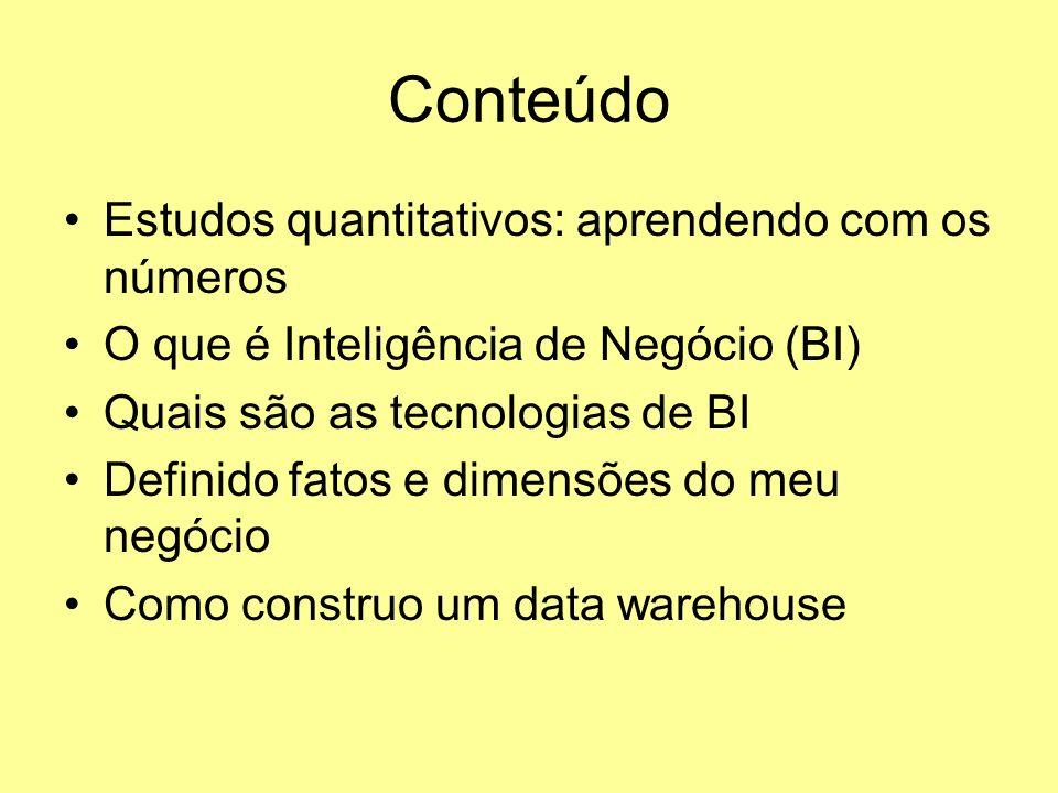 Conteúdo Estudos quantitativos: aprendendo com os números O que é Inteligência de Negócio (BI) Quais são as tecnologias de BI Definido fatos e dimensõ