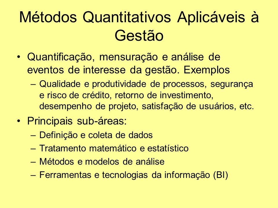 Métodos Quantitativos Aplicáveis à Gestão Quantificação, mensuração e análise de eventos de interesse da gestão. Exemplos –Qualidade e produtividade d