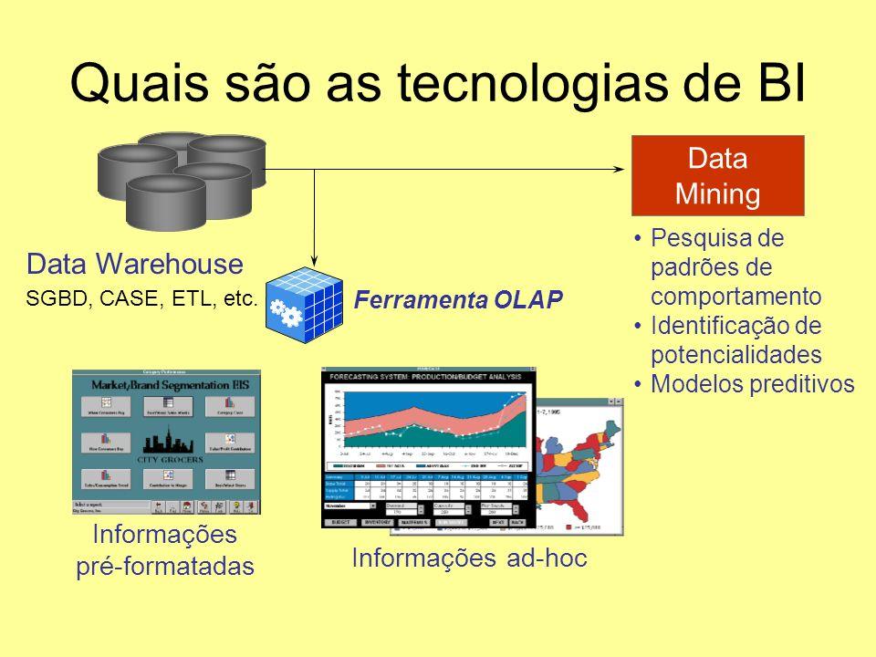 Quais são as tecnologias de BI Ferramenta OLAP Informações pré-formatadas Informações ad-hoc Data Warehouse Data Mining Pesquisa de padrões de comport