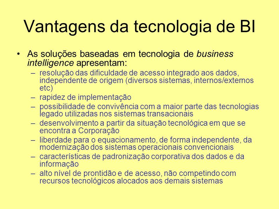 Vantagens da tecnologia de BI As soluções baseadas em tecnologia de business intelligence apresentam: –resolução das dificuldade de acesso integrado a