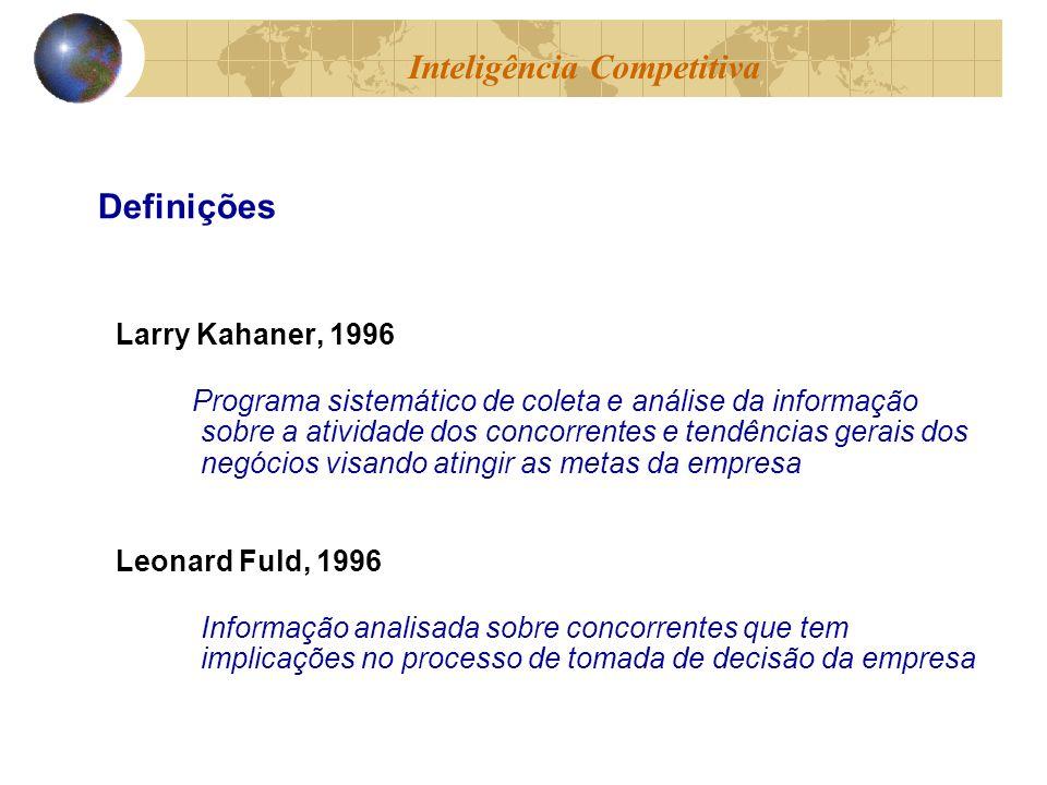 Larry Kahaner, 1996 Programa sistemático de coleta e análise da informação sobre a atividade dos concorrentes e tendências gerais dos negócios visando