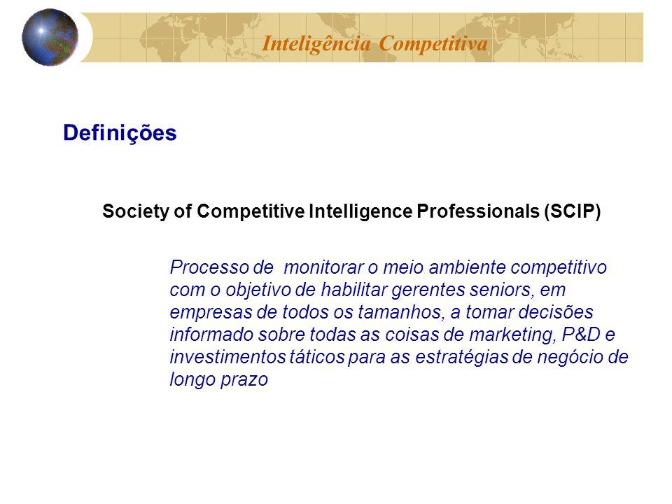 Society of Competitive Intelligence Professionals (SCIP) Processo de monitorar o meio ambiente competitivo com o objetivo de habilitar gerentes senior