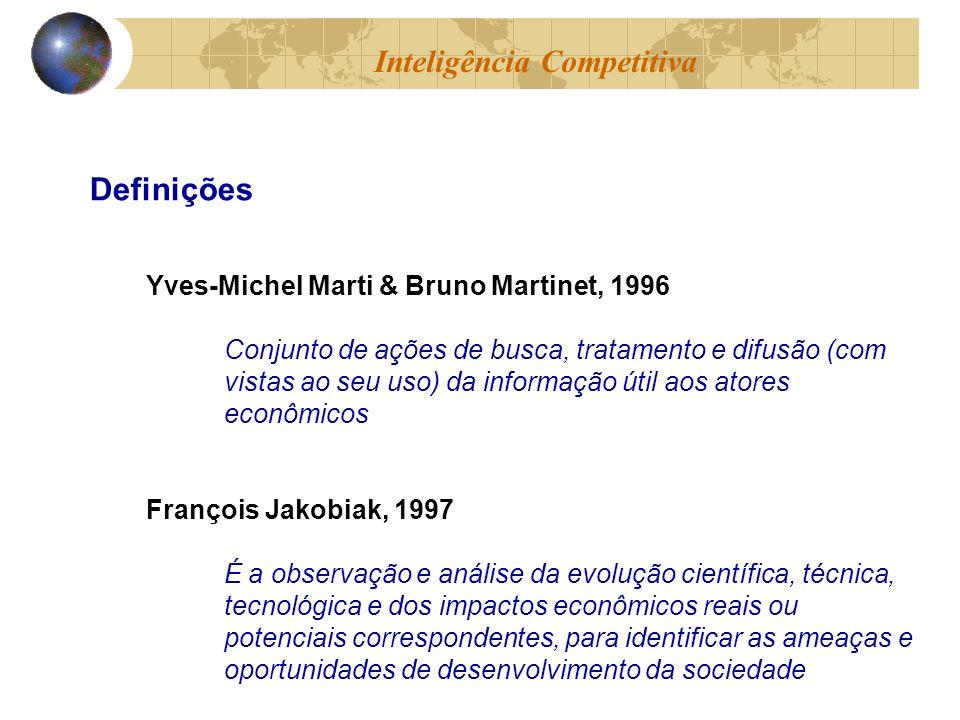 Yves-Michel Marti & Bruno Martinet, 1996 Conjunto de ações de busca, tratamento e difusão (com vistas ao seu uso) da informação útil aos atores econôm