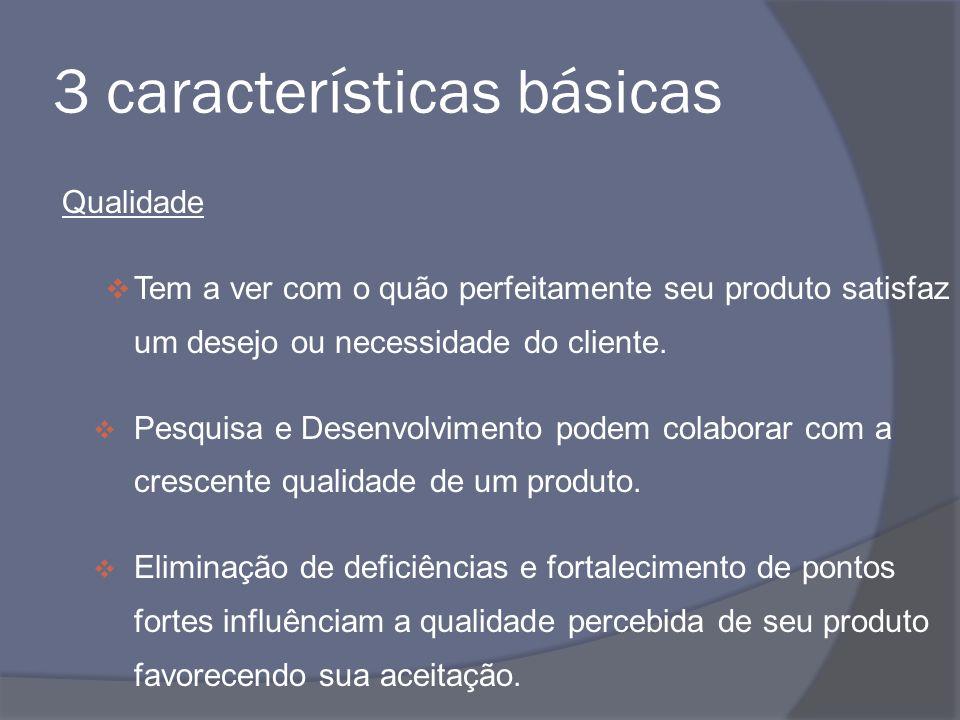 3 características básicas Qualidade Tem a ver com o quão perfeitamente seu produto satisfaz um desejo ou necessidade do cliente. Pesquisa e Desenvolvi